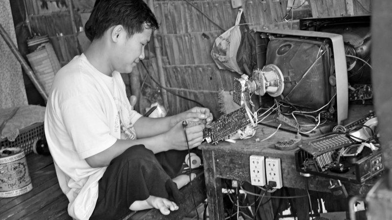 Cambodia TV Repair Man