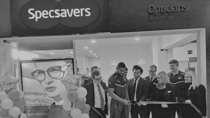 Specsavers Official Store Opening, White Rose Centre, Leeds with Leeds Rhino's.